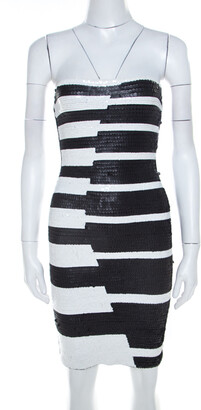 Herve Leger Black and White Sequined Piano Strapless Cocktail Dress XS