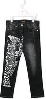 Roberto Cavalli leopard print jeans - kids - Cotton/Spandex/Elastane - 4 yrs