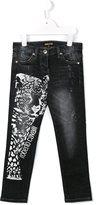 Roberto Cavalli leopard print jeans - kids - Cotton/Spandex/Elastane - 8 yrs