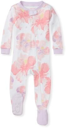 Burt's Bees Aloha Hibiscus Organic Baby Zip Front Snug Fit Footed Pajamas