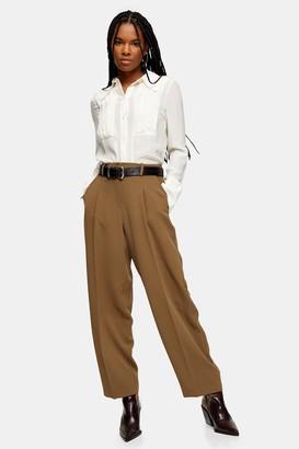 Topshop Khaki Slouch Peg Pants With Elastic Back