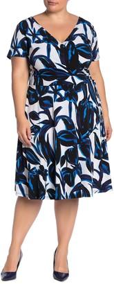 Maggy London Short Sleeve Faux Wrap Dress (Plus Size)