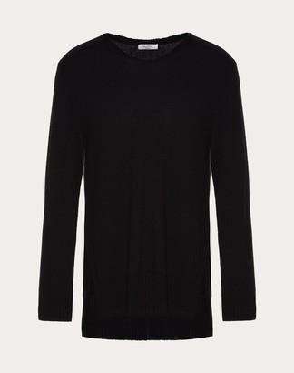 Valentino Oversize Cashmere Crew-neck Sweater Man Black Cashmere 100% M