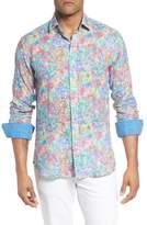 Bugatchi Shaped Fit Floral Linen Sport Shirt