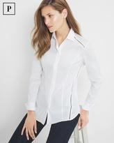 White House Black Market Petite Pleat-Back Poplin Shirt