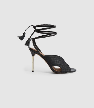 Reiss MINERVA BRAIDED ANKLE STRAP SANDALS Black