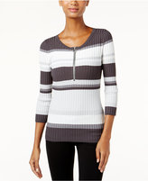 INC International Concepts Zip-Front Striped Sweater, Only at Macy's