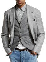 Brunello Cucinelli Deconstructed Three-Button Sport Jacket, Gray