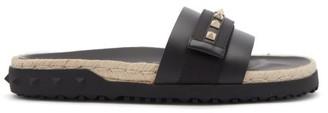 Valentino Rockstud Leather Espadrille Slides - Black