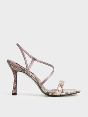 Charles & Keith Snake Print Asymmetric Strap Heeled Sandals