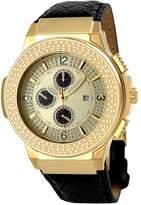 JBW Men's Saxon Black Leather Chronograph Watch, 46mm