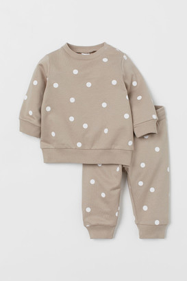 H&M 2-piece Sweatshirt Set - Brown