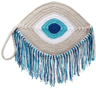 My Beachy Side eye woven clutch bag