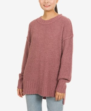 Hippie Rose Juniors' Drop-Shoulder Boucle Tunic Sweater
