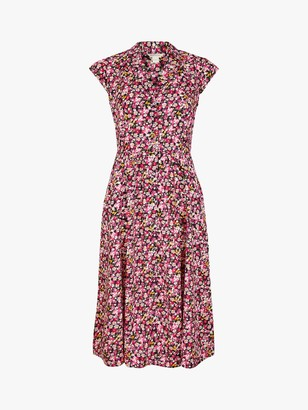 Monsoon Ditsy Print Shirt Dress, Pink