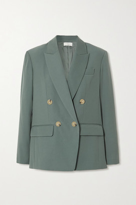 Vince Double-breasted Woven Blazer - Gray green