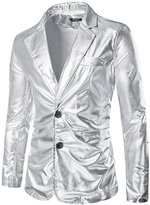 uxcell Men Notched Lapel Padded Shoulder Slim Fit Metallic Blazer Silver M