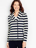 Talbots Preppy Stripes Moto Jacket