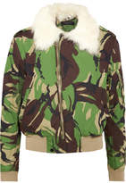 Rag & Bone Shearling-trimmed Camouflage-print Cotton-canvas Bomber Jacket - Green