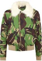 Rag & Bone Shearling-trimmed Printed Cotton-canvas Bomber Jacket
