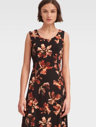 DKNY Women's Golden Blossoms Printed Fit-and-flare Dress - Paprika - Size XS
