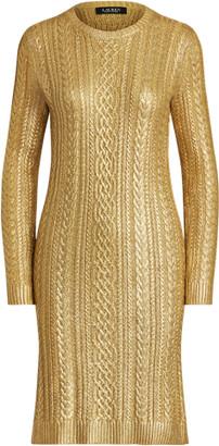 Ralph Lauren Metallic Cable-Knit Jumper Dress