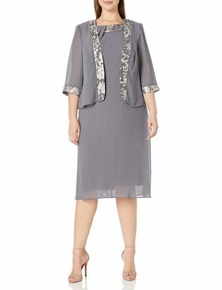 Le Bos Women's Plus Size Embroidered Trim Jacket Dress with Neckline Pleat Detail