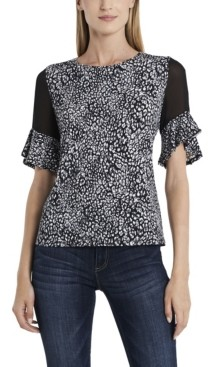 Vince Camuto Women's Flutter Sleeve Iced Leopard Top with Chiffon Inset