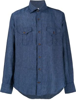 Eleventy Straight-Fit Linen Shirt