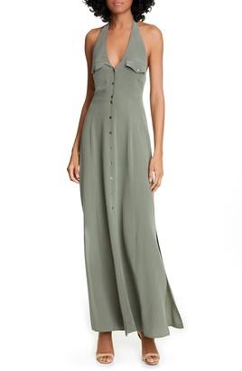 L'Agence Amina Silk Halter Maxi Dress