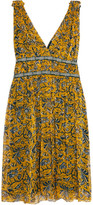Etoile Isabel Marant Balzan Gathered Printed Silk-georgette Mini Dress - Yellow