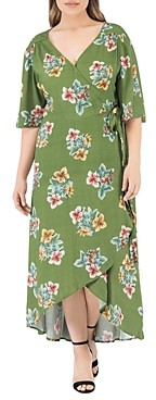 Bobeau B Collection By Curvy B Collection by Curvy Orna Floral-Print Wrap Dress