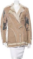 Just Cavalli Abstract Print Shearling Coat