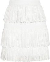MSGM Fringed woven mini skirt