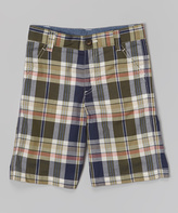E-Land Kids Olive Plaid Shorts - Toddler