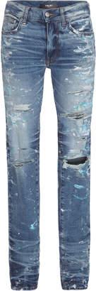 Amiri Distressed Mid-Rise Skinny Jeans