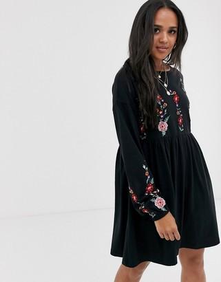 Asos Design DESIGN Long sleeve embroidered smock mini dress-Black