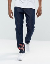 Hype Skinny Jeans In Blue With Floral Embroidery