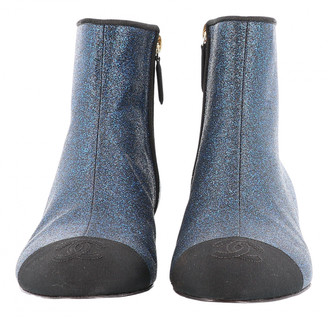 Chanel Blue Leather Ankle boots