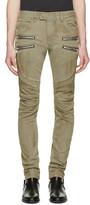 Balmain Beige Biker Rib Zip Jeans