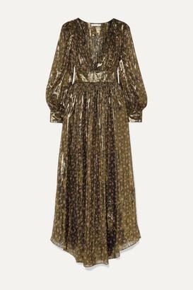 LoveShackFancy Cyrena Floral-print Metallic Silk-blend Chiffon Maxi Dress - Black