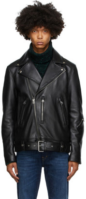 Acne Studios Black Leather Biker Jacket