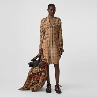 Burberry Vintage Check Silk and Cotton Shirt Dress
