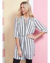 Fashion World Black/White Stripe Belted Tunic