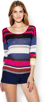 Twelfth St. By Cynthia Vincent Button Back Striped Cardigan