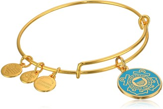 "Alex and Ani Armed Forces"" US Coast Guard Expandable Gold Wire Bangle Charm Bracelet"