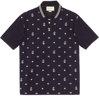 Gucci Symbols Embroidered Polo Shirt