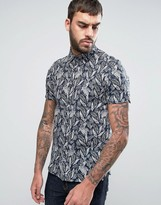 Ted Baker Slim Short Sleeve Shirt In Print