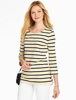 Talbots Side-Button Tee - Mixed Bright Stripes