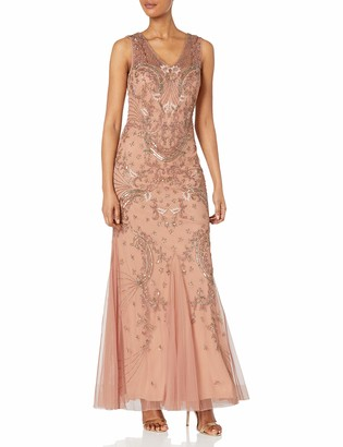 Adrianna Papell Women's Long Beaded V Neck Dress Gown